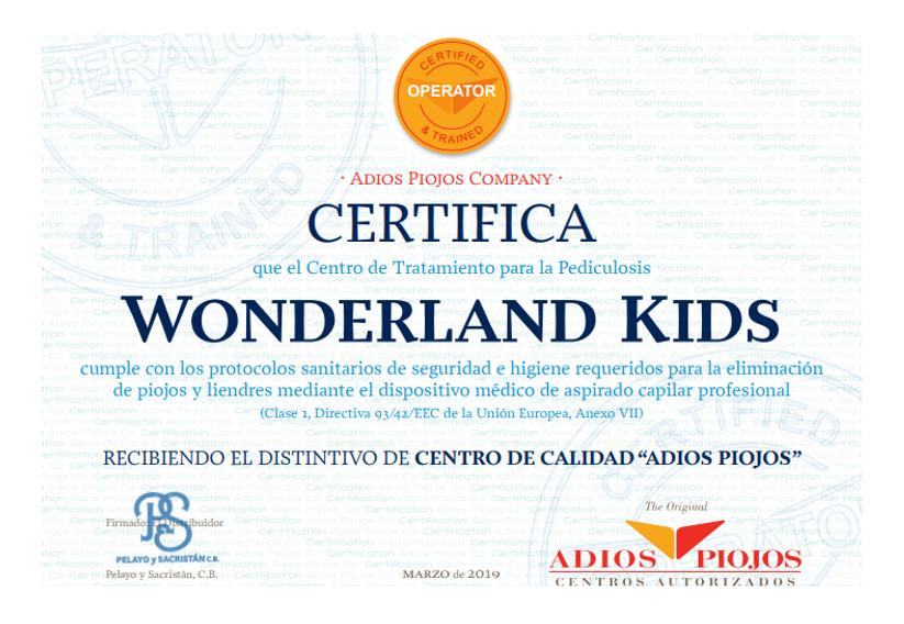 certificado de pediculosis Wonderland Kids